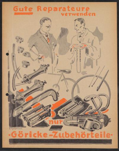 Göricke Reparatur-Zubehörteile Werbeblatt 1920er Jahre