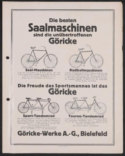Göricke Saalmaschinen Werbeblatt 1920er Jahre