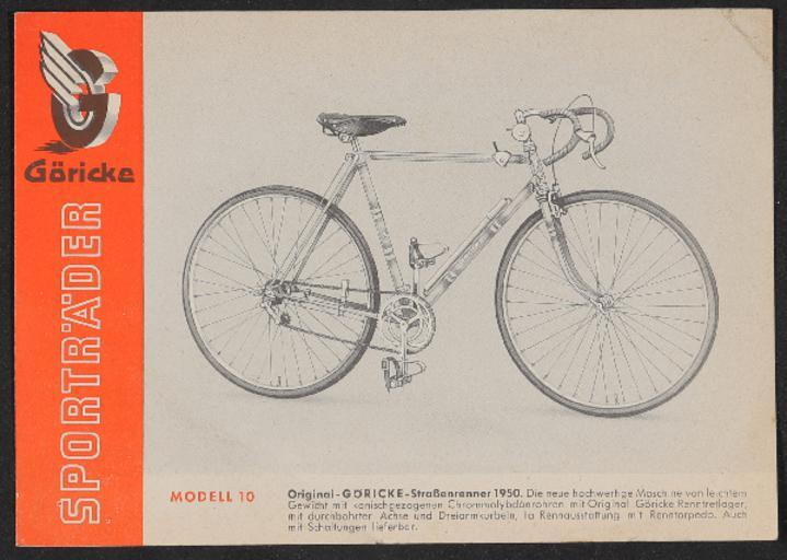 Göricke Sporträder Prospekt und Preisliste 1954