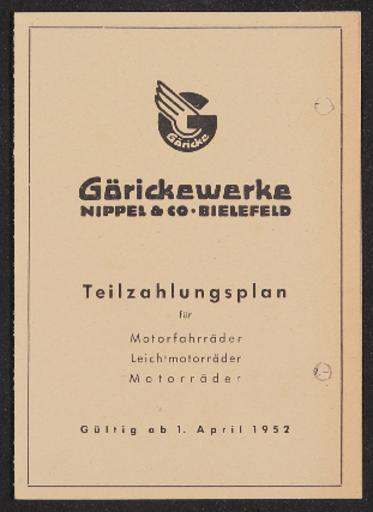 Göricke Teilzahlungsplan 1952