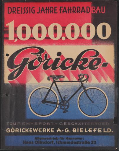 Göricke Touren- Sport- Geschäftsräder Werbeblatt 1904