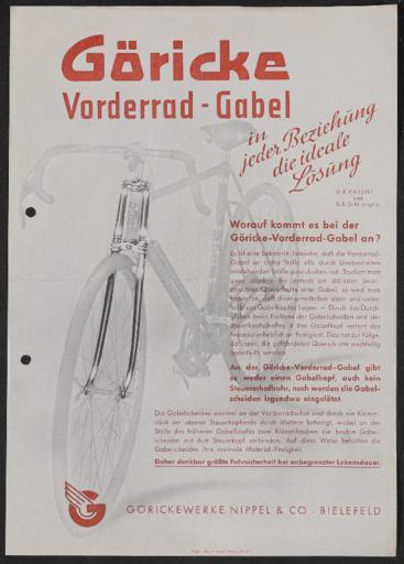 Göricke Vorderrad-Gabel Werbeblatt 1930er Jahre
