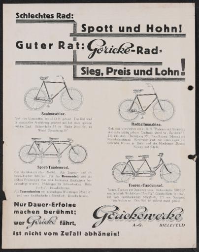 Göricke Werbeblatt  1920er Jahre