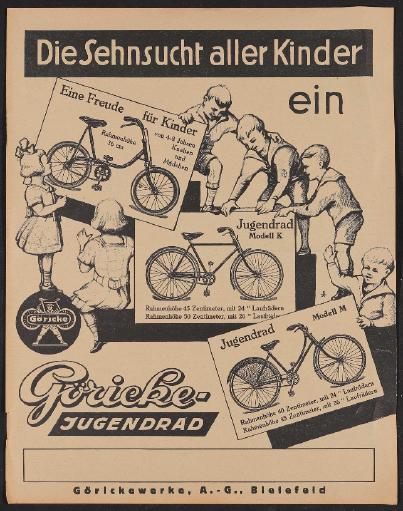 Göricke, Werbeblatt 1920er Jahre