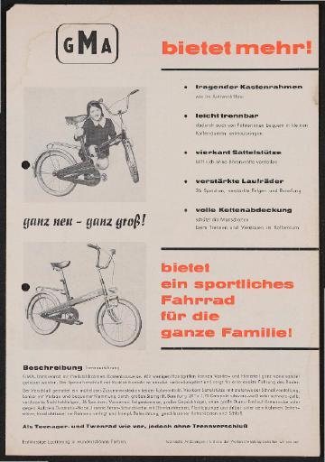 GMA Händler Preiliste Mopeds und Klappräder 1970er Jahre