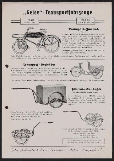 Geier Transportfahrzeuge Werbeblatt 1930er Jahre