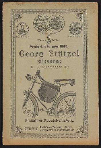 Georg Stützel, Radfahrer-Requisitenfabrik, Preisliste 1895