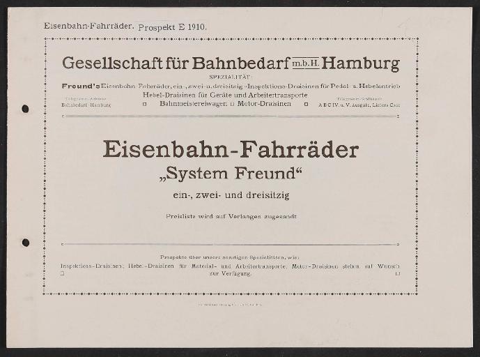 Gesellschaft für Bahnbedarf, Eisenbahn-Fahrräder, Draisinen, Katalog 1910
