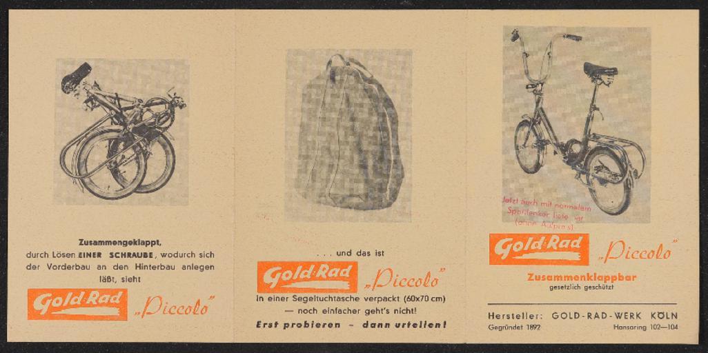 Gold-Rad Faltblatt Klappräder 1970er Jahre