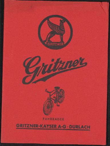 Gritzner Fahrräder Mappe Faltblätter, Preislisten, Nabe,  1930er Jahre