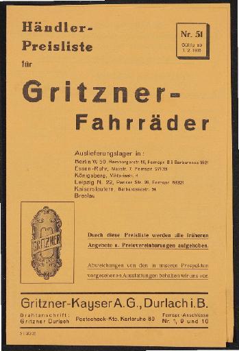 Gritzner Fahrräder Preisliste 1935