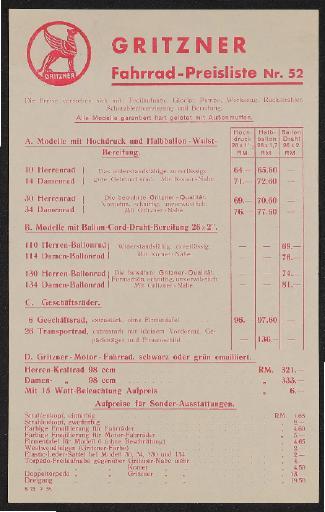 Gritzner Fahrräder Preislisten 1936