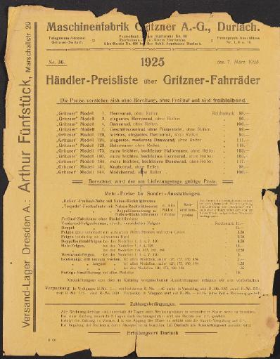 Gritzner Preislisten, 1925-1932