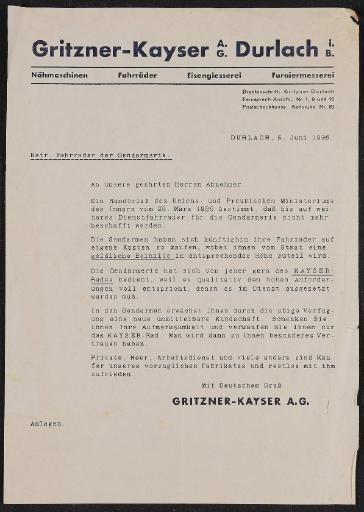 Gritzner-Kayser Händler Rundbrief1936