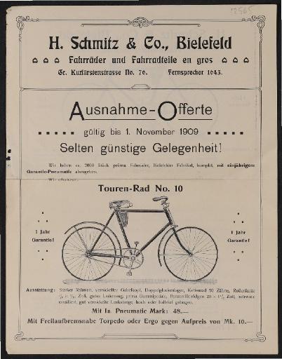 Schmitz Fahrräder Faltblatt 1909