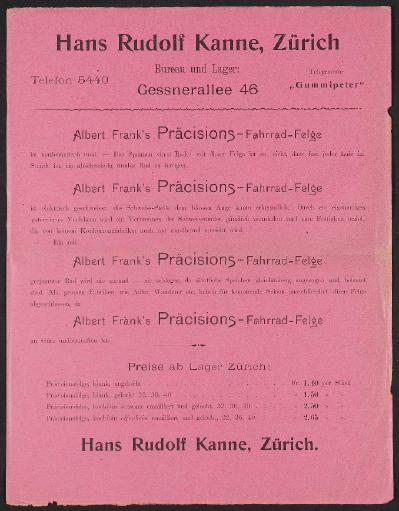 H.R. Kanne Fahrradfelgen, Preisliste 1890er Jahre