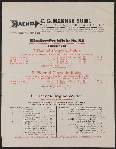 Haenel Preislisten 1930er Jahre