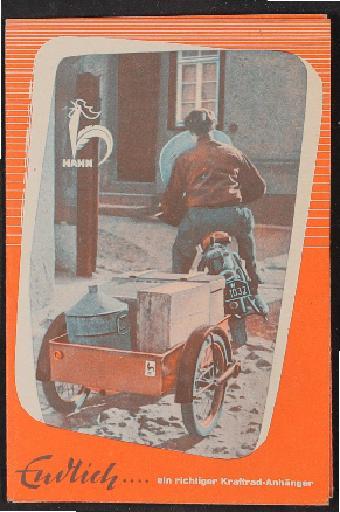 Hahn Anhänger Faltblatt 1960er Jahre