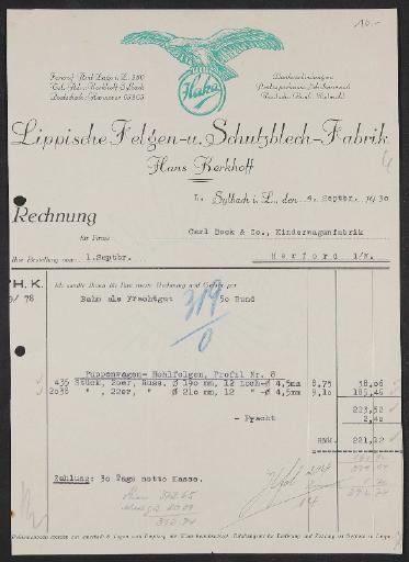 Haka, Lippische Felgen-u. Schutzblech-Fabrik, Rechnung 1930