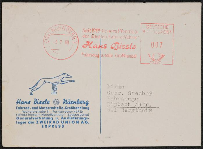 Hans Bissle Nürnberg Zweirad Union AG Express Postkarte 1960