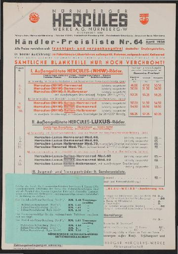Hercules Preisliste 1934