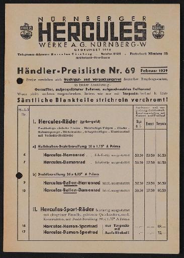 Hercules Preisliste 1939