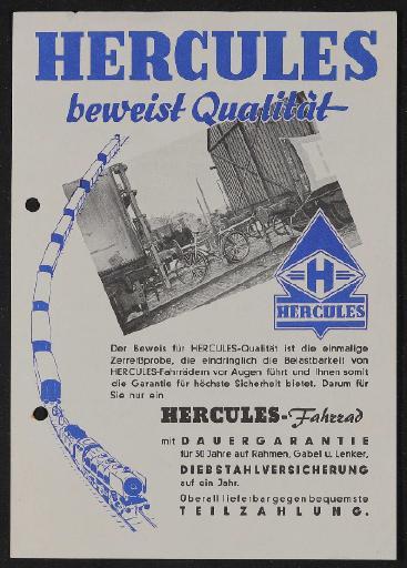 Hercules Qualität Werbeblatt 1950er Jahre