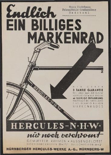 Hercules Werbeblatt 1930er Jahre