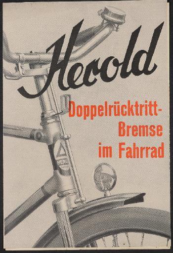 Herold Fahrrad mit Doppelrücktrittbremse Prospekt 1930er Jahre
