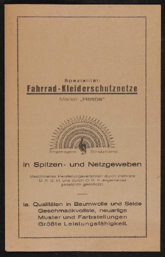 Hesba Fahrrad-Kleiderschutznetze Faltblatt 20er Jahre