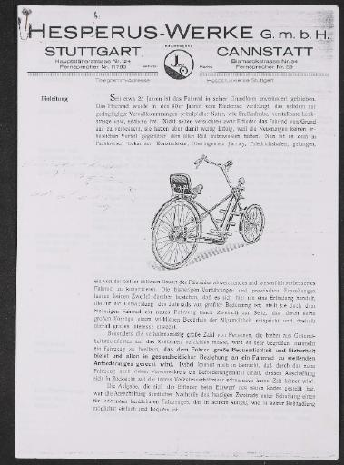 Hesperus-Werke J-Rad Jaray Werbeschrift 1922