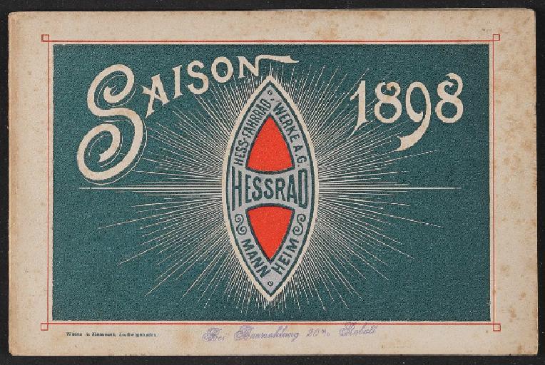 Hessrad Hess-Fahrrad-Werke Katalog und Theile-Preis-Liste 1898