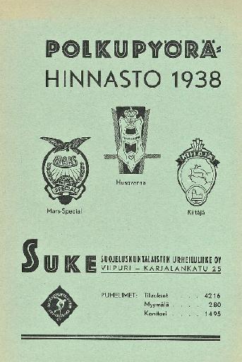 Polkupyorahinnasto Husqvarna 1938
