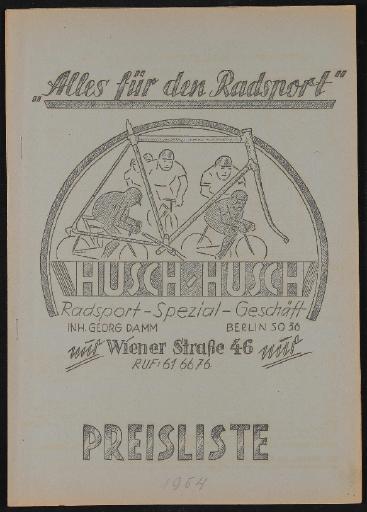 Husch-Husch Alles für den Radsport Preisliste 1954