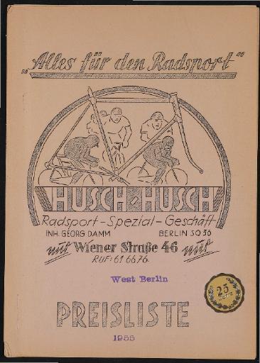 Husch-Husch Alles für den Radsport Preisliste 1955