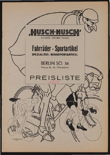Husch-Husch Fahrräder-Sportartikel Preisliste 1951