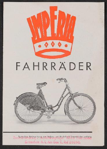 Imperia Fahrräder Prospekt 1930er Jahre