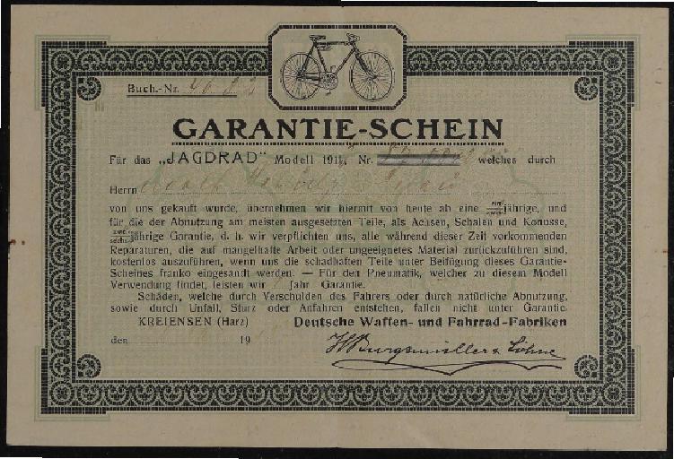 Jagdrad Deutsche Waffe- und Fahrrad-Fabriken Garantieschein 1911