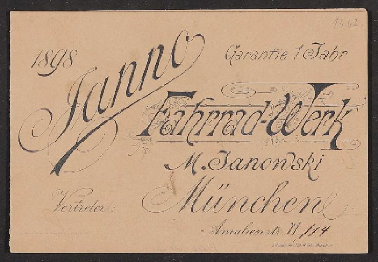 Janno Fahrrad-Werk, M. Janonski, Prospekt 1898