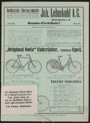 Joh. Lehmkuhl Großhändler Preisliste 1925