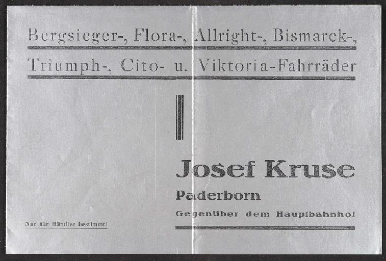 Bergsieger-, Flora-, Allright-,Bismarck-, Triumph-, Cito-, Victoria-Fahrräder Faltblatt 1935