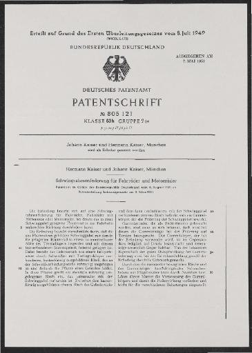 Kaiser Schwingrahmenfederung Patent  1949