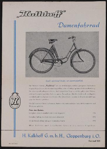 Kalkhoff Damenfahrrad Werbeblatt 1930er Jahre