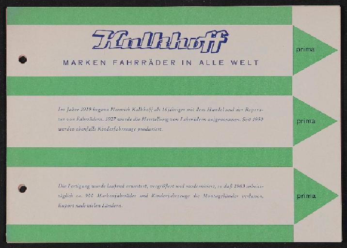 Kalkhoff Marken Fahrräder Prospekt 1963