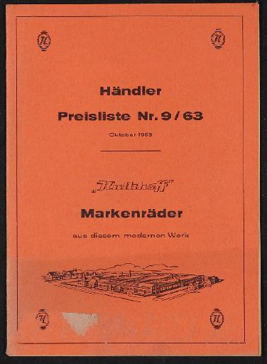 Kalkhoff Markenräder Händler Preisliste 1963