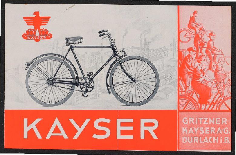 Kayser Fahrräder Faltblatt 1930er Jahre