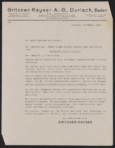 Kayser Fahrräder Händlerinformation 1934