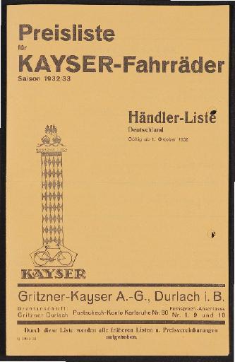 Kayser Fahrräder Preislisten 1930er Jahre
