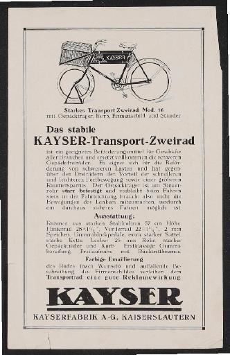 Kayser Geschäftsrad Transport-Zweirad Werbeblatt 1928
