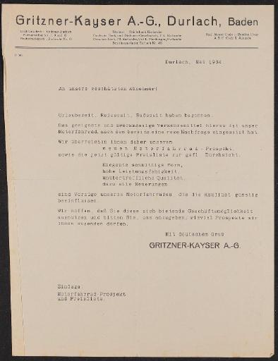 Kayser Motor-Fahrrad Händlerinformation u. Preisliste 1934